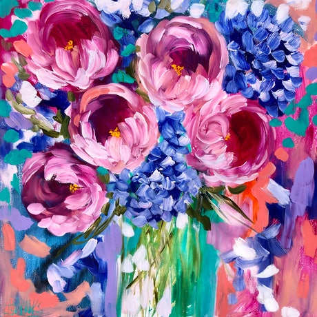 (CreativeWork) Vibrant bouquet  by Amanda Brooks. Acrylic Paint. Shop online at Bluethumb.