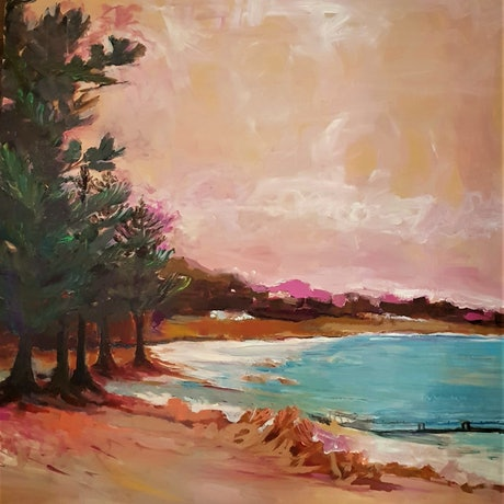 (CreativeWork) PRINCELY PINES by cheryl richardson. Acrylic Paint. Shop online at Bluethumb.