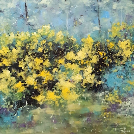 (CreativeWork) Spring series, Wattle 1 by Victoria Collins. Oil Paint. Shop online at Bluethumb.