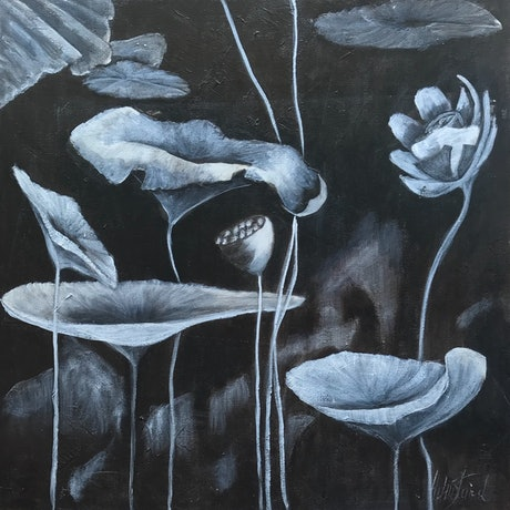 """(CreativeWork) """"LOTUS BY NIGHT"""" by Helen Tainsh. Acrylic. Shop online at Bluethumb."""
