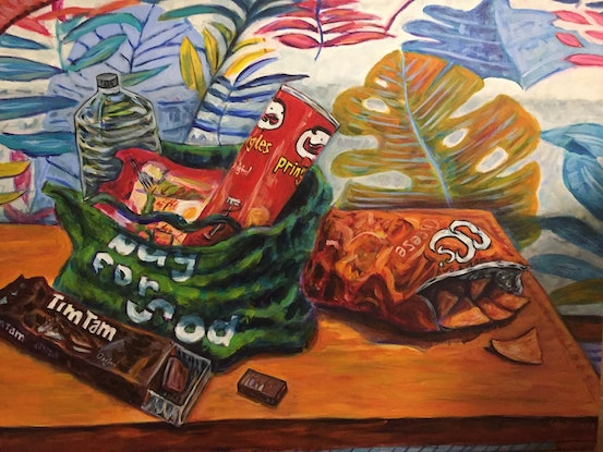 (CreativeWork) Snack Time in Jungle Room by Steven Firman. Acrylic. Shop online at Bluethumb.