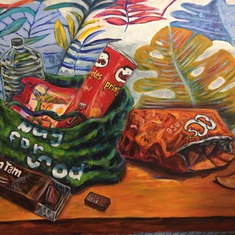 (CreativeWork) Snack Time in Jungle Room by Steven Firman. Acrylic Paint. Shop online at Bluethumb.