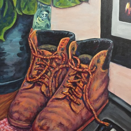 (CreativeWork) Working Man Boots by Steven Firman. Acrylic Paint. Shop online at Bluethumb.