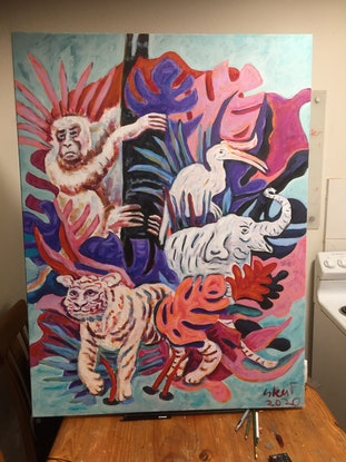(CreativeWork) Borneo Beasts by Steven Firman. Acrylic Paint. Shop online at Bluethumb.