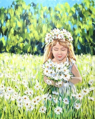 (CreativeWork) Daisies by Irina Redine. Acrylic Paint. Shop online at Bluethumb.