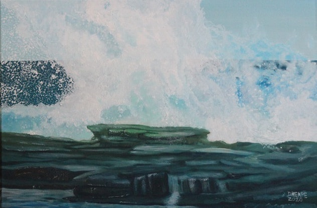 """(CreativeWork) 'ROCKY SHORE""""  by Dennis Heape. Oil Paint. Shop online at Bluethumb."""