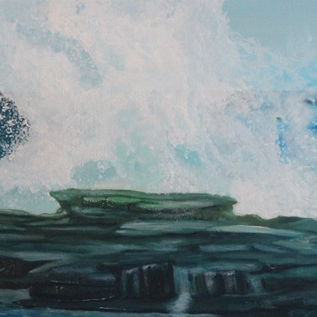 """(CreativeWork) 'ROCKY SHORE""""  by Dennis Heape. Oil. Shop online at Bluethumb."""