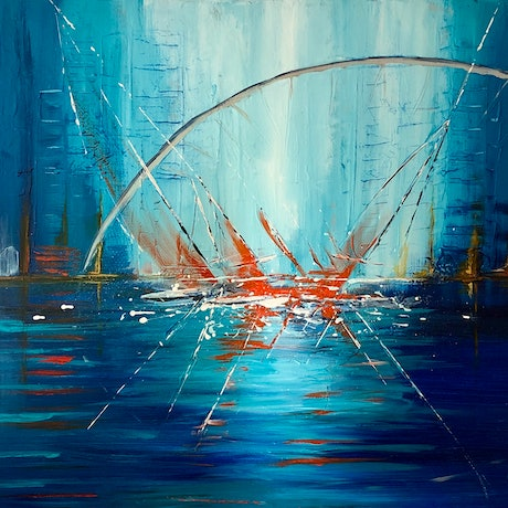 (CreativeWork) Battle for Line Honours Sydney to Hobart by Andrew Smith. Acrylic Paint. Shop online at Bluethumb.