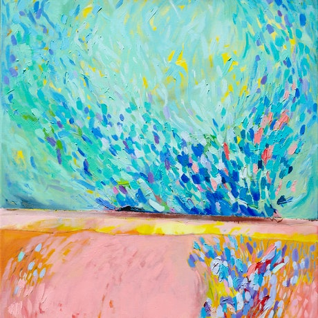 (CreativeWork) Pink Landscape by Lydie Paton. Oil. Shop online at Bluethumb.