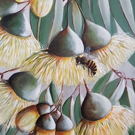 (CreativeWork) Yellow Gumnuts and Honey Bee by Christine Hookham. Acrylic Paint. Shop online at Bluethumb.