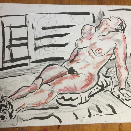 (CreativeWork) Reclining Nude by Steven Firman. Mixed Media. Shop online at Bluethumb.