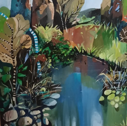 (CreativeWork) Abstract Landscape - Pond Gums by Susan Trudinger. Acrylic Paint. Shop online at Bluethumb.