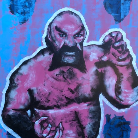 (CreativeWork) Ox Baker wants to have a heart to heart. by Trevor McDonald. Acrylic. Shop online at Bluethumb.