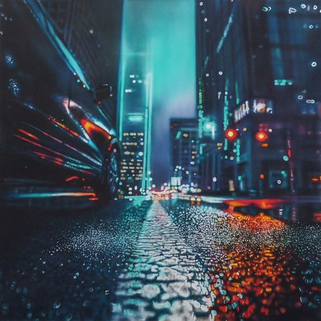 (CreativeWork) Gotham City Vibe by Todd Simpson. Acrylic Paint. Shop online at Bluethumb.
