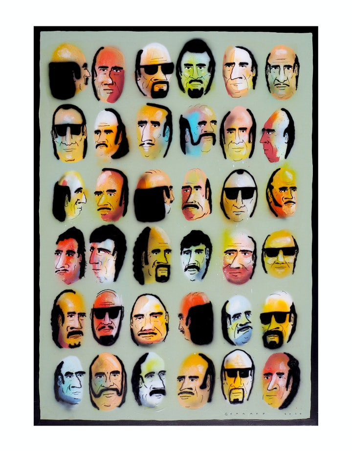 (CreativeWork) Orderly Group by Tom Gerrard. Acrylic Paint. Shop online at Bluethumb.