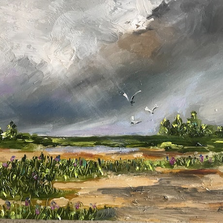 (CreativeWork) Finally some rain 2 by sue bannister. Oil Paint. Shop online at Bluethumb.