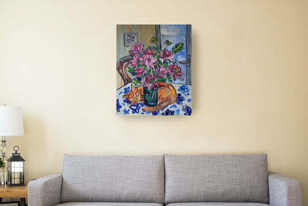 (CreativeWork) Ginger Cat and Dahlias by Katerina Apale. Oil Paint. Shop online at Bluethumb.