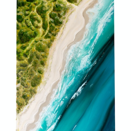 (CreativeWork) Wairo Beach Aerial by Susan Mercuri. Oil Paint. Shop online at Bluethumb.