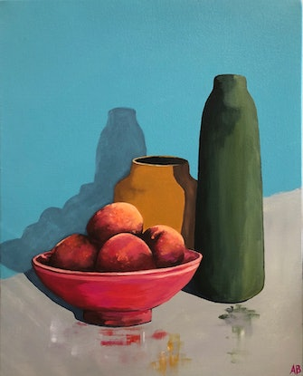 (CreativeWork) Green and Yellow with Peaches by Annabelle Brockman. Acrylic. Shop online at Bluethumb.