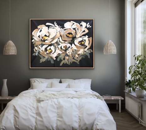 (CreativeWork) All For You - Abstract Flowers by Jen Shewring. Acrylic Paint. Shop online at Bluethumb.