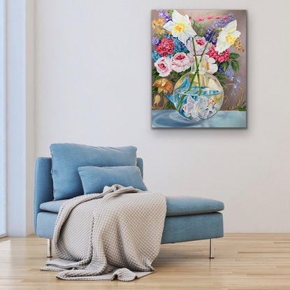 (CreativeWork) Bursting Forth and the Floaty Fish by Alicia Cornwell. Oil Paint. Shop online at Bluethumb.