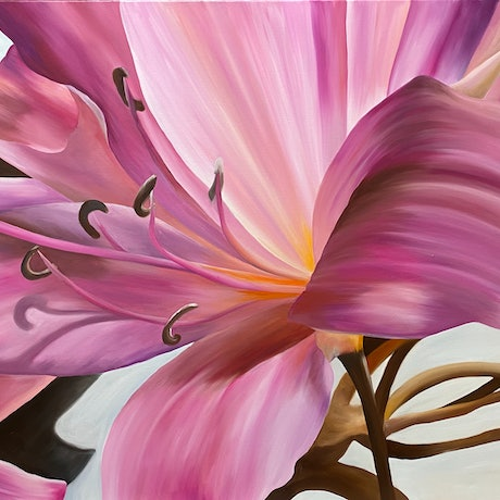 (CreativeWork) Lilies by Linda McGowan. Oil Paint. Shop online at Bluethumb.