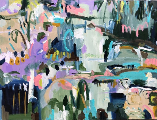 (CreativeWork) On the Banks of the River  by Jane Thompson. Mixed Media. Shop online at Bluethumb.