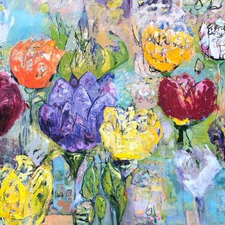 (CreativeWork) FIELD OF TULIPS by Maureen Finck. Oil Paint. Shop online at Bluethumb.