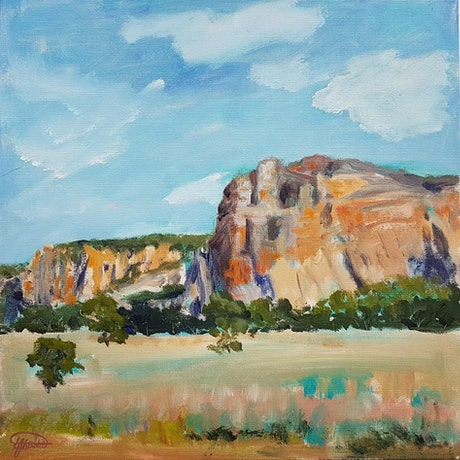 (CreativeWork) ANTICIPATING CAMPING Mt Arapiles by Suzy Strout. Acrylic Paint. Shop online at Bluethumb.