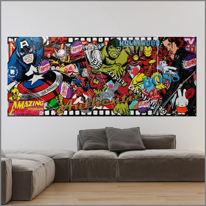 (CreativeWork) Heroes - Then there were Six   huge  240cm x 100cm Avengers Urban Pop Art Textured Acrylic Gloss Finish FRANKO by _Franko _. Mixed Media. Shop online at Bluethumb.