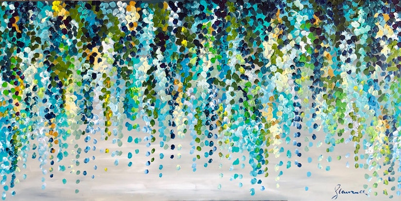 (CreativeWork) Misty morning wisteria 153x76 framed large textured abstract by Sophie Lawrence. Acrylic Paint. Shop online at Bluethumb.