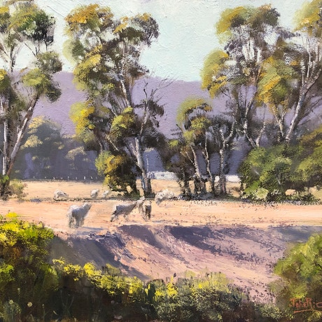 (CreativeWork) Dry Times, South Australia by John Rice. Oil Paint. Shop online at Bluethumb.