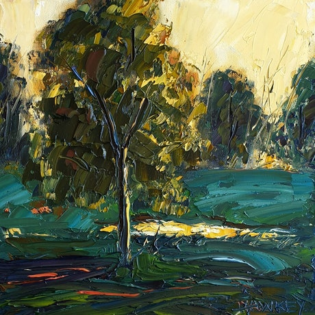 (CreativeWork) Glimpse Of Gold by Angela Hawkey. Oil Paint. Shop online at Bluethumb.