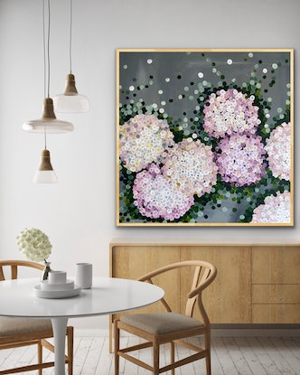 (CreativeWork) The gentle pink hydrangea 102x102 framed large textured abstract  by Sophie Lawrence. Acrylic Paint. Shop online at Bluethumb.