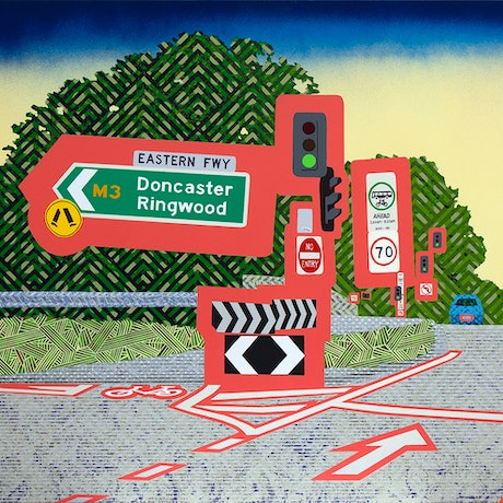 (CreativeWork) Hoddle Street turnoff onto the freeway by Jo Ryan. Mixed Media. Shop online at Bluethumb.