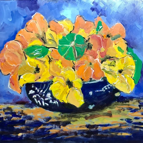 (CreativeWork) Blue Bowl by Geoff Hargraves. Oil Paint. Shop online at Bluethumb.