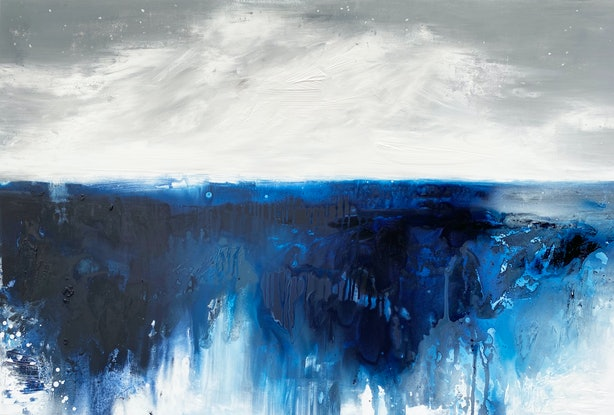 (CreativeWork) Out At Sea by Kathleen Rhee. Acrylic Paint. Shop online at Bluethumb.