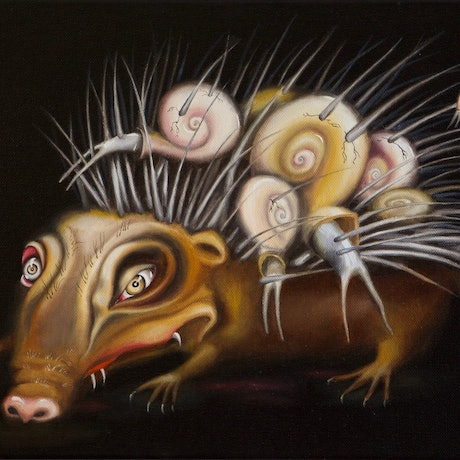 (CreativeWork) Hedgehog, the Snail Collector |surrealism  by Yulia Pustoshkina. Oil Paint. Shop online at Bluethumb.