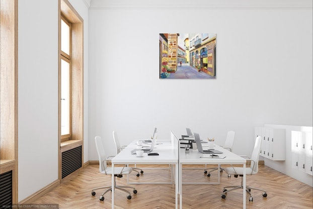 (CreativeWork) Europe Town Scene by Emilia Rebelo. Oil Paint. Shop online at Bluethumb.