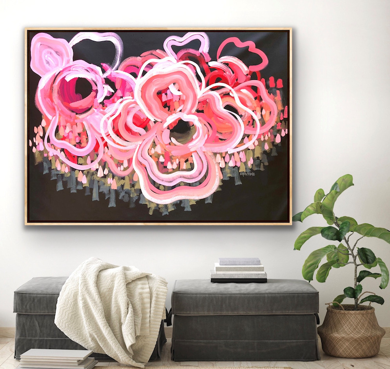(CreativeWork) You're My Rock - Abstract Flowers by Jen Shewring. Acrylic Paint. Shop online at Bluethumb.