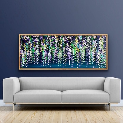 (CreativeWork) Moonlit wisteria 153x62 framed large textured abstract wisteria by Sophie Lawrence. Acrylic Paint. Shop online at Bluethumb.