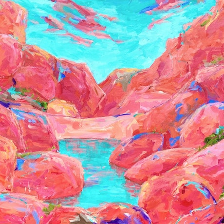 (CreativeWork) Inhale Roma Gorge by Eve Sellars. Acrylic Paint. Shop online at Bluethumb.