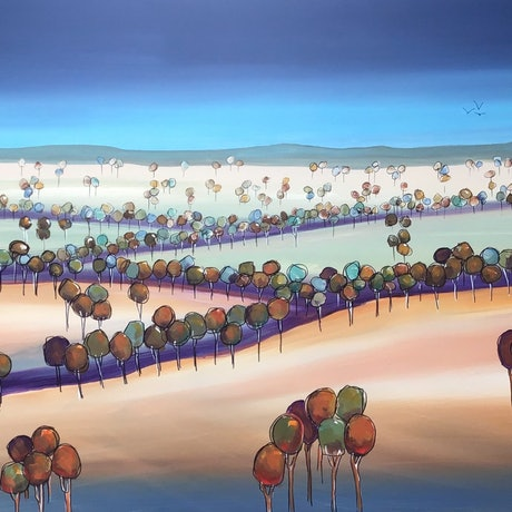 (CreativeWork) Tree landscape by Ron Brown. Acrylic Paint. Shop online at Bluethumb.