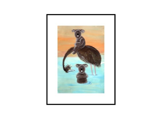 (CreativeWork) River Life - Koala and Emu  by John Graham. Mixed Media. Shop online at Bluethumb.