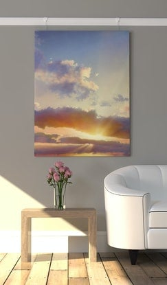 (CreativeWork) Brilliant Sun on Purple by David Tracey. Acrylic Paint. Shop online at Bluethumb.