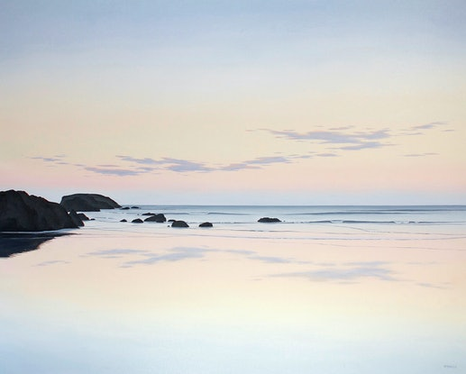 (CreativeWork) Low Tide 3, East Coast Tasmania by Richard Stanley. Oil Paint. Shop online at Bluethumb.
