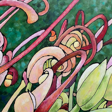 (CreativeWork) Grevillea 5 by Ingrid Russell. Acrylic Paint. Shop online at Bluethumb.