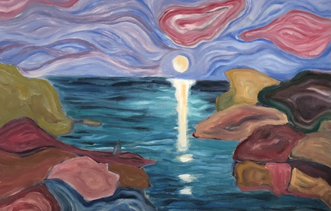 (CreativeWork) Moon Over Water by Susannah Bond. Oil Paint. Shop online at Bluethumb.