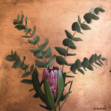 (CreativeWork) Golden Bloom by Bec Bartell. Acrylic Paint. Shop online at Bluethumb.