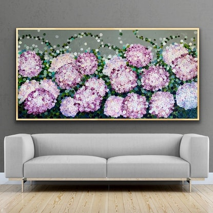 (CreativeWork) On sale Queen of the night pink hydrangea  183x93framed large textured abstract hydrangeas  by Sophie Lawrence. Acrylic. Shop online at Bluethumb.